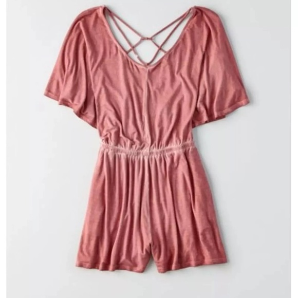 c907e721d2fc NWT AEO Soft + Sexy Strappy Flutter Sleeve Romper. NWT. American Eagle  Outfitters.  30  40. Size